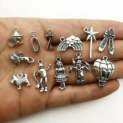 8 Wizard of Oz Charms Set Antiqued Silver Assorted Lot Themed Pendants