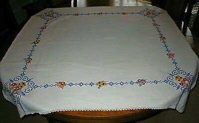 """Vintage Hand Embroidered Tablecloth, 50"""" X 52"""", Heavily Embroidered, Lovely!!"""