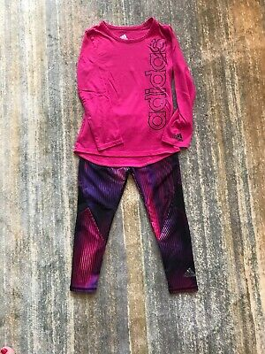 ADIDAS Set Girls Black/Pink Athletic Leggings & Long Sleeve Shirt Size 4