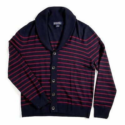 Brooks Brothers Men's Navy Blue & Magenta Stripe Wool Button Down Sweater Size M