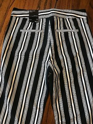 INC Womens Pants Black White Stripe Sz 10 Bootcut Leg Mid-Rise Stretch $89 New