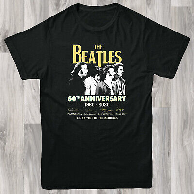 The Beatles 60th Anniversary Rock Band Mens T shirt S-XL Retro Gift Tee Music