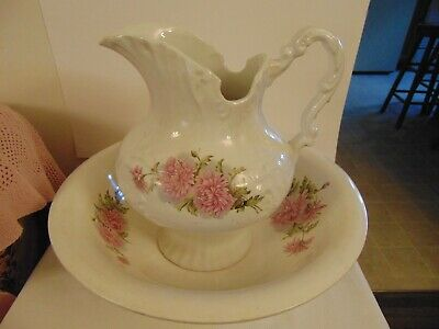 Beautiful Antique Wash Basin Bowl Pitcher Victorian Pink Carnation Revere China