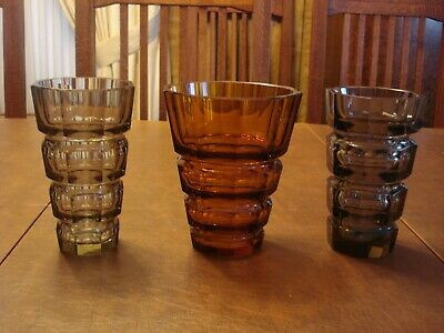 """3 - MOSER VASES DESIGN ATTRIBUTED TO JOSEF HOFFMAN 6"""" Tall 2 Smoke & 1 Amber"""