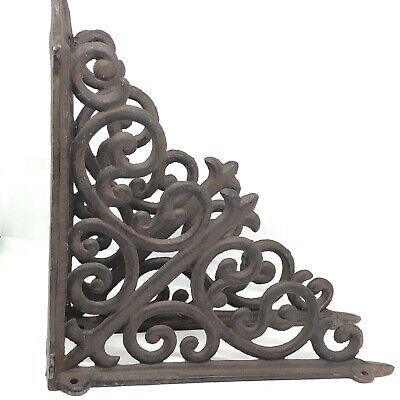 "Set 2 Vintage Brown Cast Iron Scroll Shelf Bracket 9 3/4"" Wall Decorative Metal"