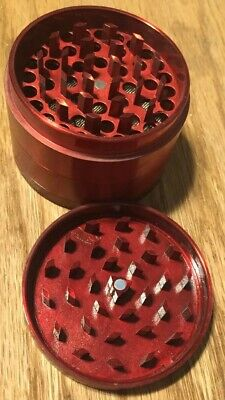GRINDER 4 Piece Magnetic 2.5 Inch RED Tobacco Herb/Spice With Scoop FREESHIP