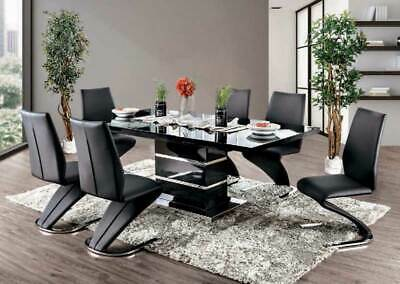 Mirror Insert /& Taupe Chairs 7 pieces Set ICE6 Modern Solid Black Rect Table w