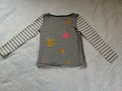 Mini Boden Girl's Gray Long Sleeved Top w Colorful Stars, Size 7-8, EUC