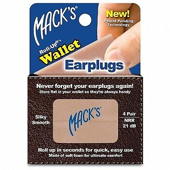 Mack's Roll-ups Wallet Ear Plugs, 4-pair Box - 3 Pack, Noise Blocking