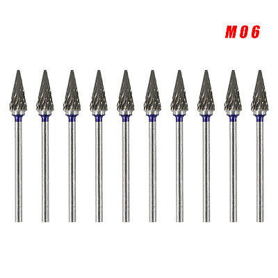 10 Dental Lab Tungsten Carbide Burs Burr 2.35mm M06 Dental Lab