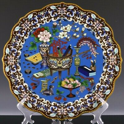 Fine Large Chinese Famille Rose Cloisonne Enamel Precious Objects Charger Plate
