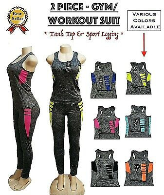 NWT Women/'s 2 Piece Athletic Gym Outfit Set Tank Top Yoga Workout One Size