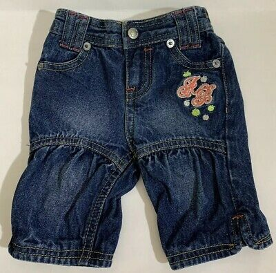 Apple Bottom Infant Girls Denim Blue Jeans Zip Snap 0-6mons Cotton Embroidered