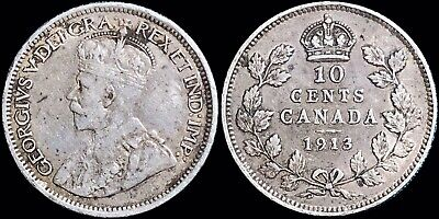 1913 Canada 10 Cents Dime KM #23 Foreign Silver Coin (Small Leaves) George V