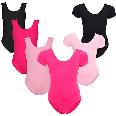 Uniforme de Dance Ballet Justaucorps Gymnastique Sans Manche Courte Fille 2-10an