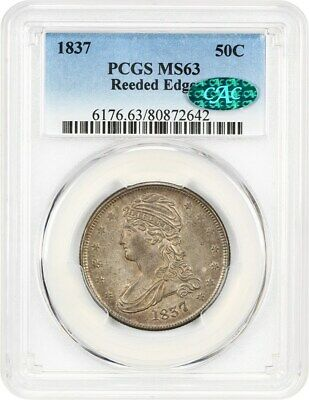 1837 50c PCGS/CAC MS63 (Reeded Edge) Pretty! - Bust Half Dollar - Pretty!