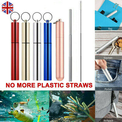 Reusable Telescopic Stainless Steel Metal Drinking Straws with Brush Carabiner