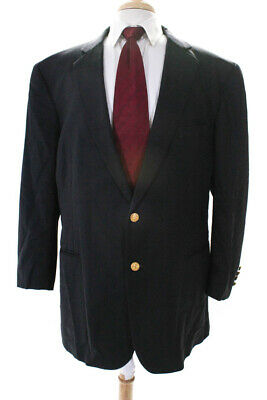 Brooks Brothers Womens Notched Collar Two Button Wool Blend Blazer Blue Size 50L