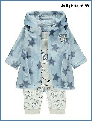 NEW Disney Baby Boys Dumbo Dressing Gown & Pyjama Set 3 Piece Character Clothing