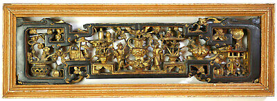 Antique Chinese Intricately Carved Pierced Lacquer Painted Gold Gilt Wood Panel