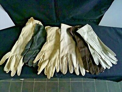 6 Pairs Vintage Victorian Gloves Leather Calf Skin Ladies Lady's