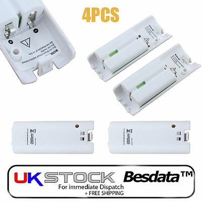 4X 2800mAh Rechargeable Battery Pack For Nintendo Wii Remote Game Controller