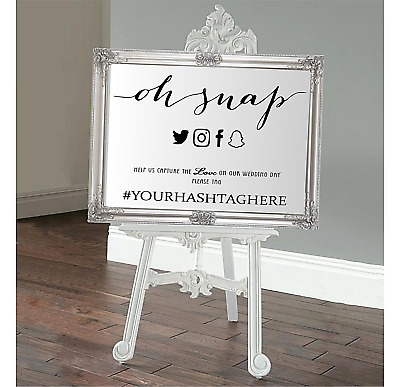 Personalised Wedding mirror Welcome sign camera snap Vinyl Decal Sticker V651