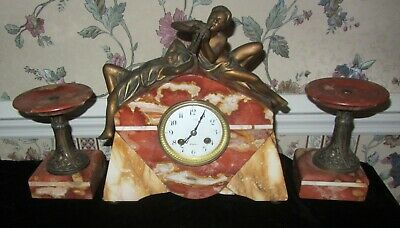 Antique French Art Deco Red & Tan Marble Mantel Garniture Clock w Candlesticks