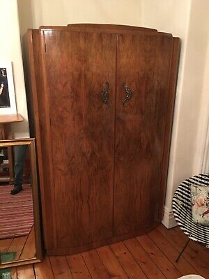 Beautiful Large Art Deco Shrager Burr Walnut Veneered Double Wardrobe