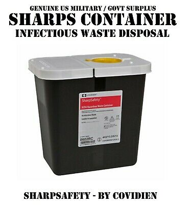 Covidien Hazardous Infectious Waste Container Sharps Disposal Trash Needle Safe
