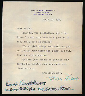 Eleanor Roosevelt Signed 1960 Letter To A Friend (Authentic !!) No Reserve