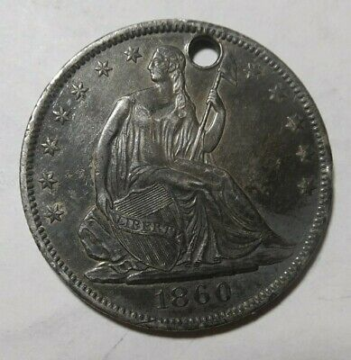 1860-O Seated Liberty Half Dollar, Holed...Very Nice Details