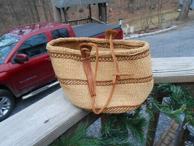 Vintage Fine Hand Woven Basket with leather Handle