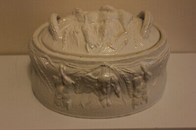 Portmeirion Game Pie Dish And Lid size 3  Colour White Farm House Shabby Chic