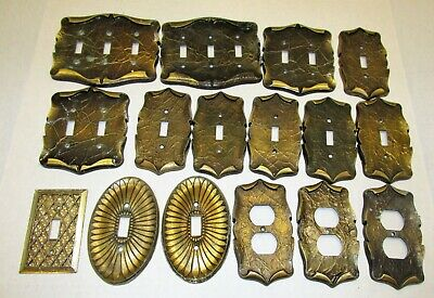 Lot 16 VINTAGE CARRIAGE HOUSE Light Switch and Plug PLATE COVERS Speckled Brass
