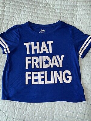 Girls Justice Size 10 That Friday Feeling Cropped Tshirt Top Blue White