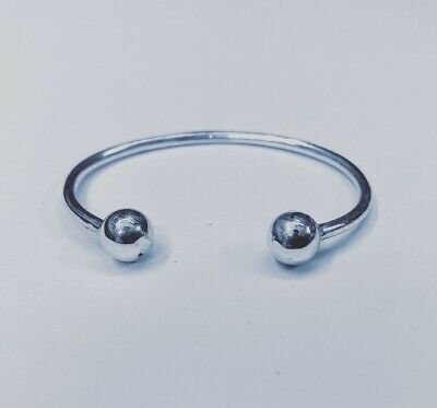 Solid 925 Sterling Silver Childs, Baby Christening Torque Bangle Brand New.