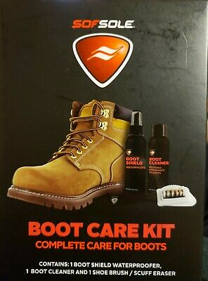 Sof Sole Boot Care Kit Waterproofer Cleaner Shoe Brush Scuff Eraser New In Box