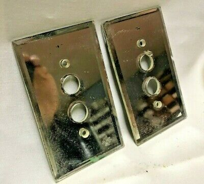 2 Vintage mirror glass Push Button Wall Light Switch Plate Cover
