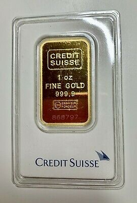 1 Oz Credit Suisse 999.9 Gold Bar Bullion #868797 With Assay Certificate