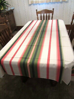 Vintage Leacock Hand Prints Striped Tablecloth NOS Unused with Paper Label