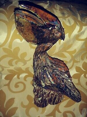 "Vintage Red Clay Pelican by Nancy S Hicks 8 1/4"" Tall NC Pottery OOAK!!  L@@K!"