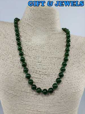 """18K YELLOW GOLD - CLASP 9MM JADE NECKLACE 18"""" HEAVY 50.5 G #bc737"""