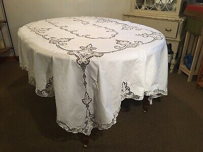 """Vintage Very Detailed Cream Battenberg Lace 99"""" x 66"""" Oblong Tablecloth (A)"""