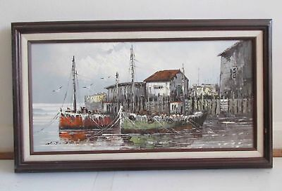 "W.JONES HARBOR SCENE Ship Boat OIL ON CANVAS PAINTING ORIGINAL framed 28"" Wide"