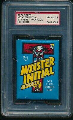 1974 Topps Monster Initial Stickers Unopened Wax Pack PSA 8 NM-MT
