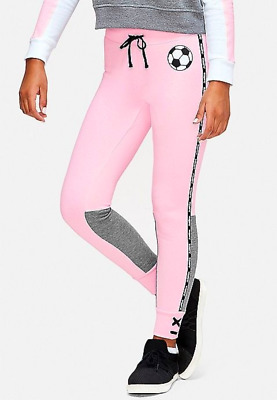 Justice Girls Size 14/16 Ballet Pink Soccer Color Block Joggers Nwt