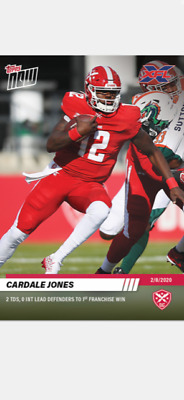 2020 TOPPS NOW XFL CARD DC DEFENDERS CARDALE JONES #2 2 TDs 1st FRANCHISE WIN