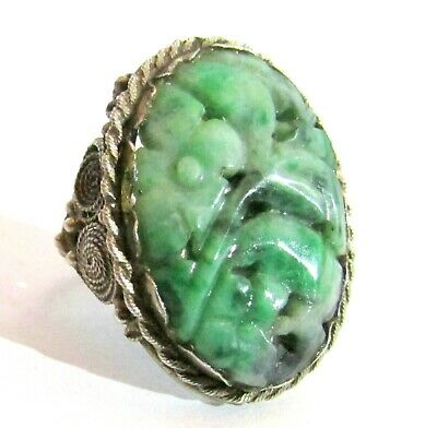 CHINESE ANTIQUE CARVED JADEITE JADE & SOLID SILVER RING ca 1910