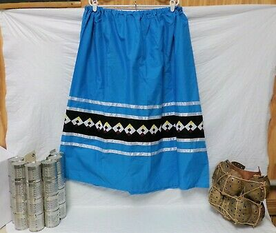 Native American Traditional Seminole Women's Patchwork Skirt Turquoise XL